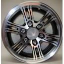"""Aluminium et noir 15"""" - 5 trous - cap inclus"""